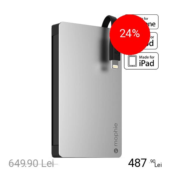 Mophie Baterie Externa 12000 mAh Powerstation Plus 8 MFI cu Port USB Suplimentar Negru