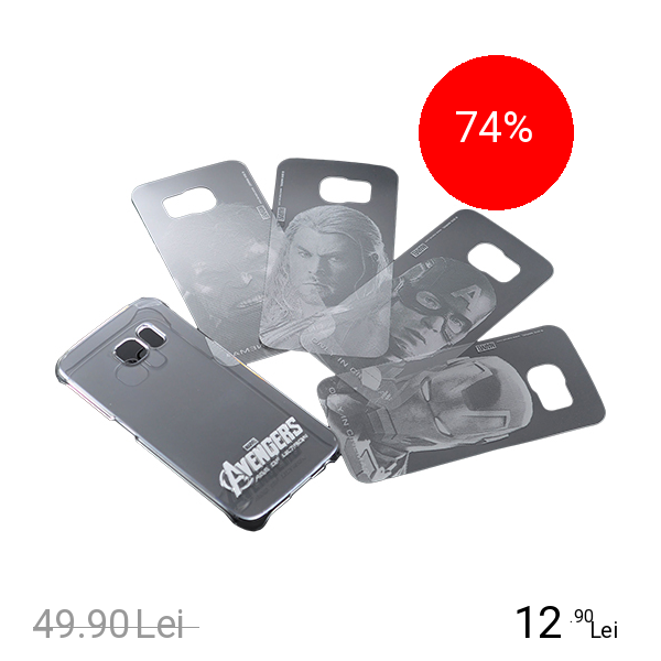 Marvel Husa Capac spate + 4 Folii Spate Interschimbabile Avengers Transparent SAMSUNG Galaxy S6