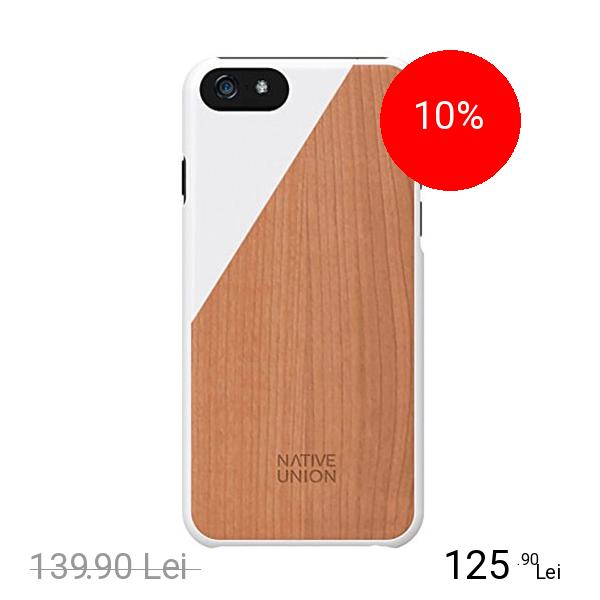 NATIVE UNION Husa Capac spate Luxury Clic Cherry Wood Alb APPLE iPhone 6, iPhone 6S