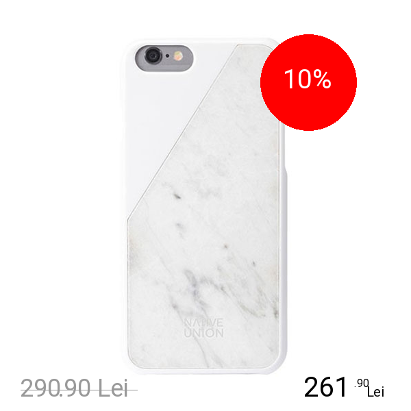 NATIVE UNION Husa Capac spate Clic Marble Alb APPLE iPhone 6, iPhone 6S