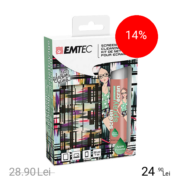 EMTEC Folie De Protectie Curatare ecran Kit Spray Curatat Ecranul+Servetele Fashion Print Apple