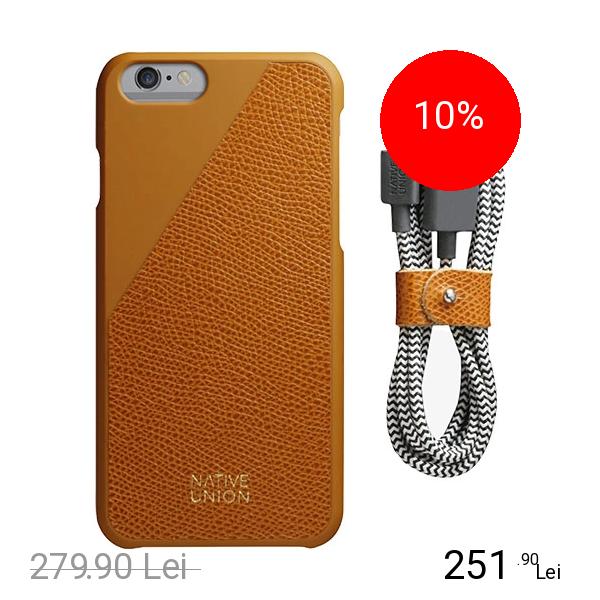 NATIVE UNION Husa Capac spate Clic Leather + Cablu de Date Belt Bundle Auriu APPLE iPhone 6, iPhone 6S