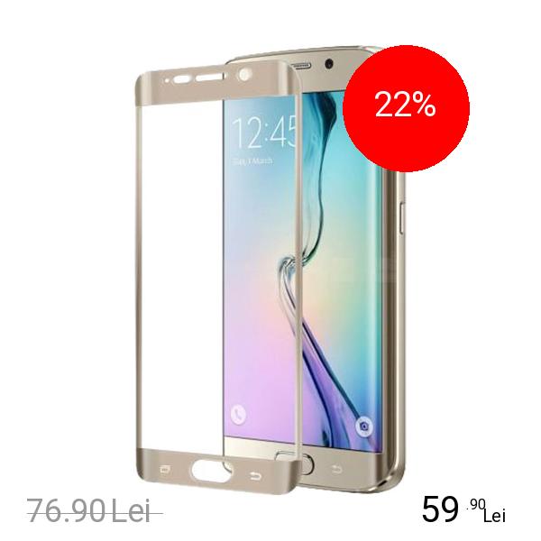 Celly Sticla Securizata Full Glass 9H Auriu SAMSUNG Galaxy S6 Edge