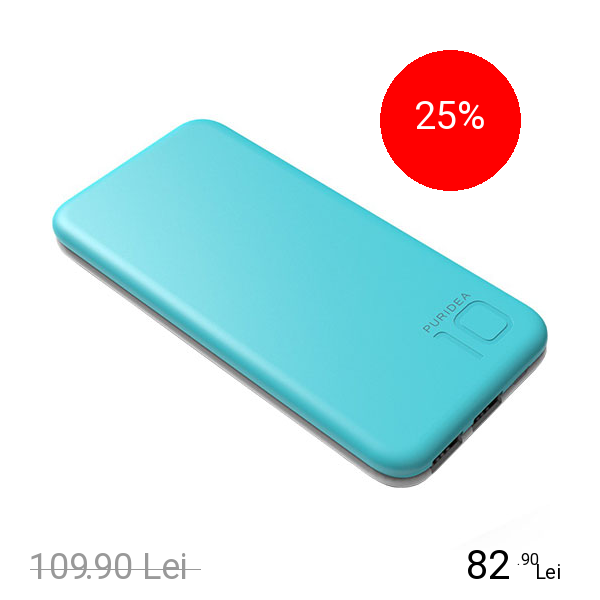 PURIDEA Baterie Externa S2 10000mAh Doua Porturi USB Alb Albastru