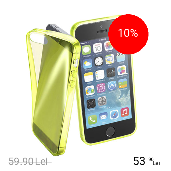 Cellularline Husa Capac Spate FLUO Galben APPLE iPhone 5s, iPhone SE