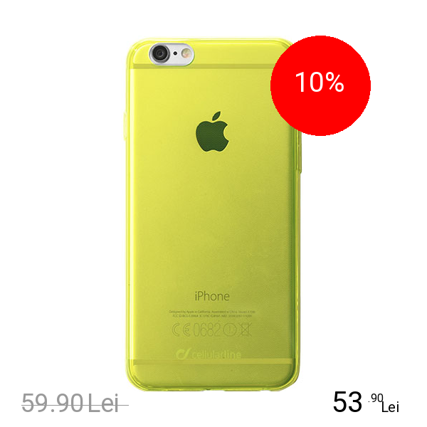 Cellularline Husa Capac Spate Fluo Galben APPLE iPhone 6, iPhone 6S