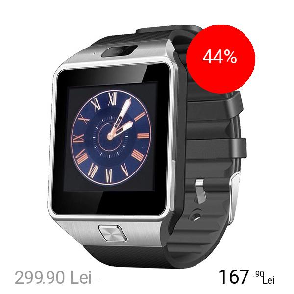 STAR Smartwatch Rush Argintiu Si Curea Silicon Neagra Cu SIM