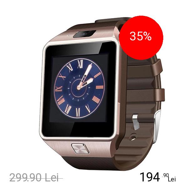 STAR Smartwatch Rush Auriu Si Curea Silicon Maro Cu SIM