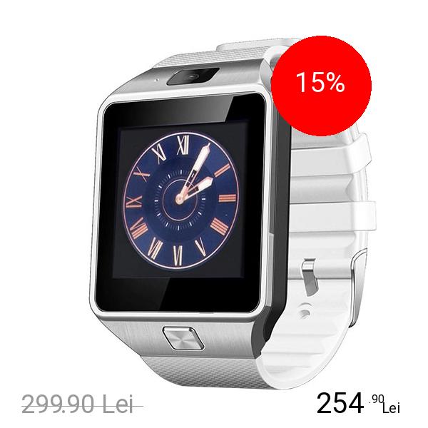 STAR Smartwatch Rush Argintiu Si Curea Silicon Alba Cu SIM