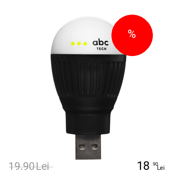Imagine indisponibila pentru ABC TECH Bec Bulb USB Negru