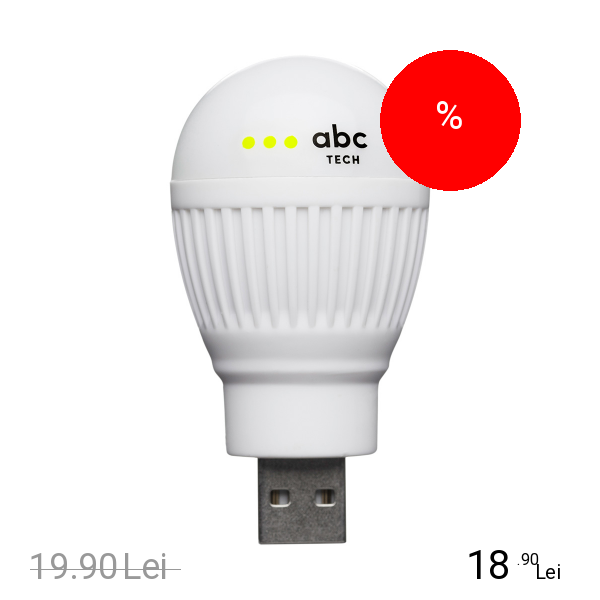 Imagine indisponibila pentru ABC TECH Bec Bulb USB Alb