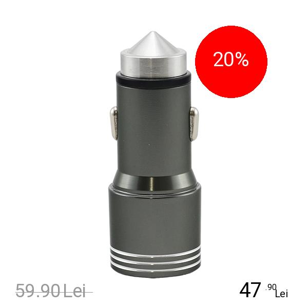 STAR Incarcator Auto Aluminiu Dual USB 3.1A Cu Varf Apt Pentru A Sparge Geamul La Urgenta Gri