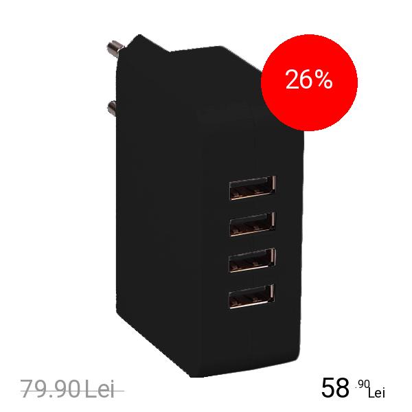 STAR Incarcator Priza Cu 4 Porturi USB 5V 4.9A Negru