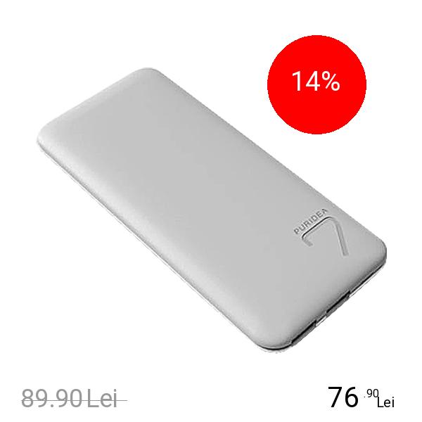 PURIDEA Baterie Externa S5 7000mAh Doua Porturi USB Alb Gri
