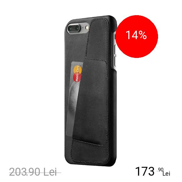 MUJJO Husa Capac Spate Wallet Piele Negru Apple iPhone 7 Plus