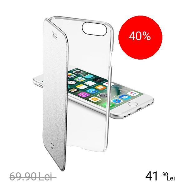 Cellularline Husa Agenda Clear Argintiu Apple iPhone 7, iPhone 8