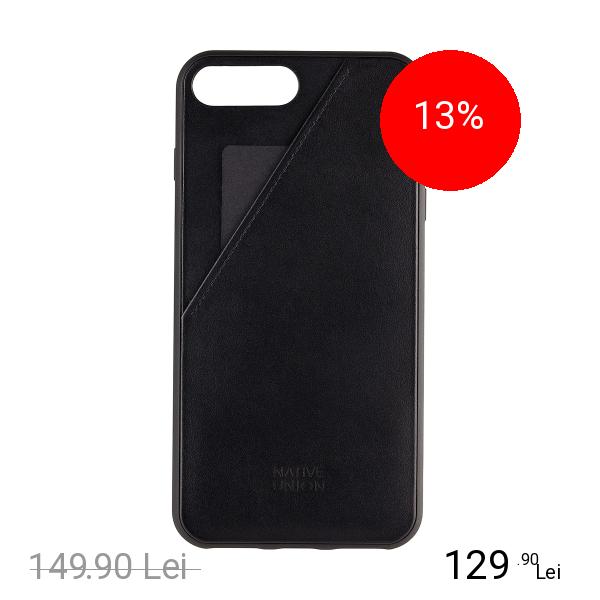 NATIVE UNION Husa Capac Spate Clic Cu Slot Pentru Card Negru Apple iPhone 7 Plus, iPhone 8 Plus