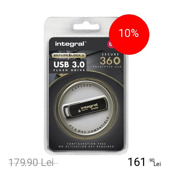 Integral Stick USB 64GB Secure 3.0 360