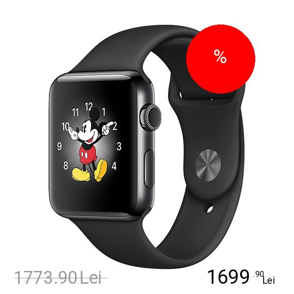 Apple Watch 2 Sport Aluminiu Negru 42MM Si Curea Silicon Negru