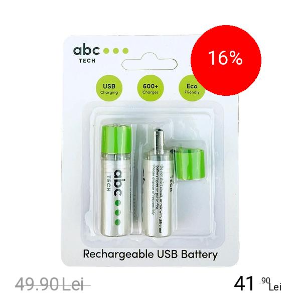ABC Tech Baterie Reincarcabila Cu USB Tip AA (R6)