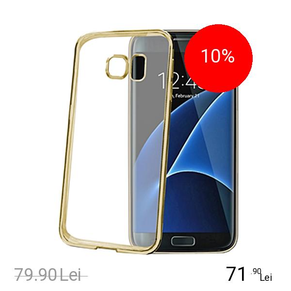Celly Husa Capac Spate Bumper Auriu Samsung Galaxy S7 Edge