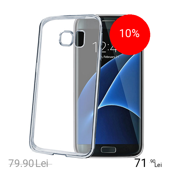Celly Husa Capac Spate Bumper Argintiu Samsung Galaxy S7 Edge