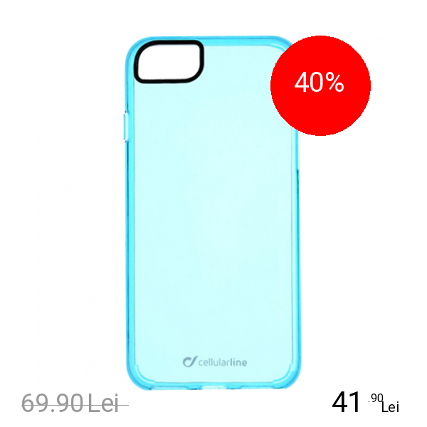 Cellularline Husa Capac Spate Clear Color Albastru Apple iPhone 7, iPhone 8