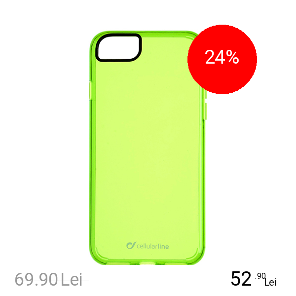 Cellularline Husa Capac Spate Clear Color Verde Apple iPhone 7, iPhone 8