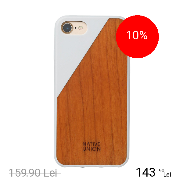 NATIVE UNION Husa Capac spate Walnut Wood Alb Apple iPhone 7, iPhone 8