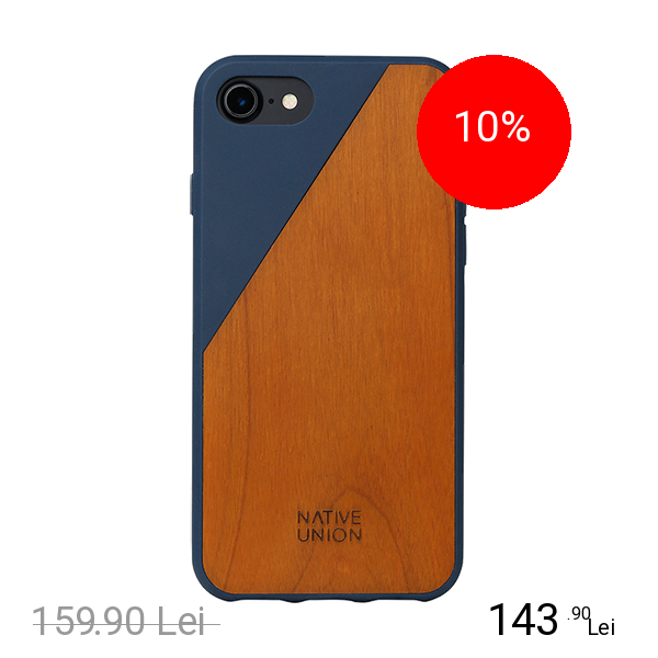 NATIVE UNION Husa Capac spate Walnut Wood Albastru Apple iPhone 7, iPhone 8
