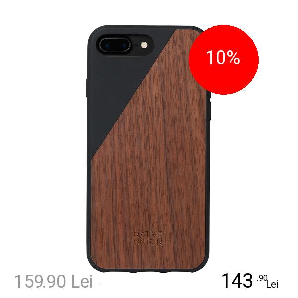 NATIVE UNION Husa Capac spate Walnut Wood Negru Apple iPhone 7 Plus, iPhone 8 Plus