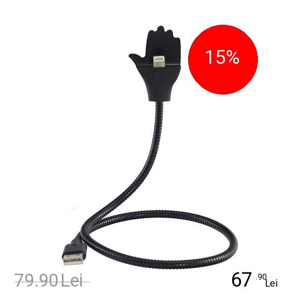 STAR Cablu Date Creative Hand Lightning La USB PVC Negru Cu Suport Telefon