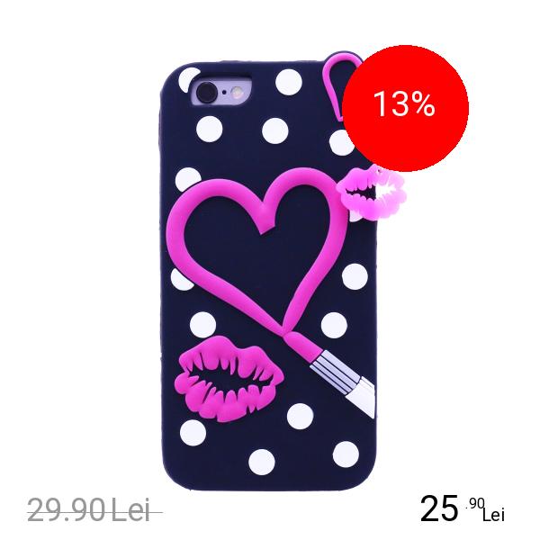 STAR Husa Capac Spate Hearts Negru Apple iPhone 7, iPhone 8
