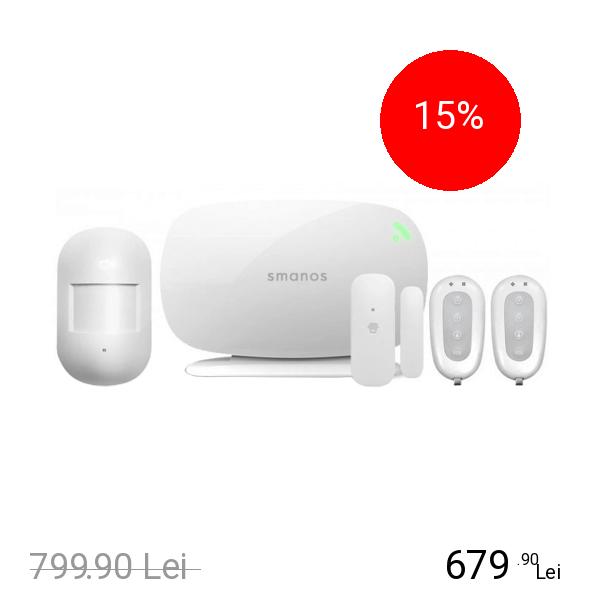 SMANOS Kit Sistem de Alarma Wireless Cu Sim Si Dispozitiv Central