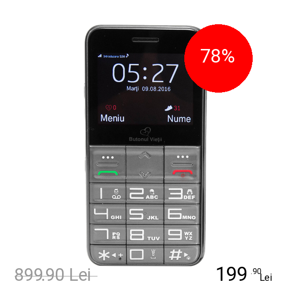 BUTONUL VIETII Telefon Senior Butonul Vietii + Abonament SOS 12 Luni Gri