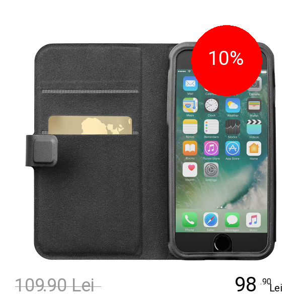 Cellularline Husa Agenda Top Secret Negru APPLE iPhone 6, iPhone 6S