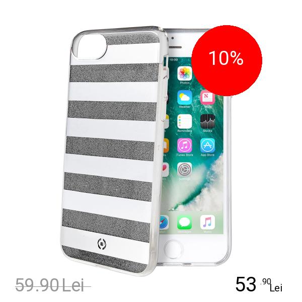 Celly Husa Capac Spate Stripes Negru Apple iPhone 7, iPhone 8
