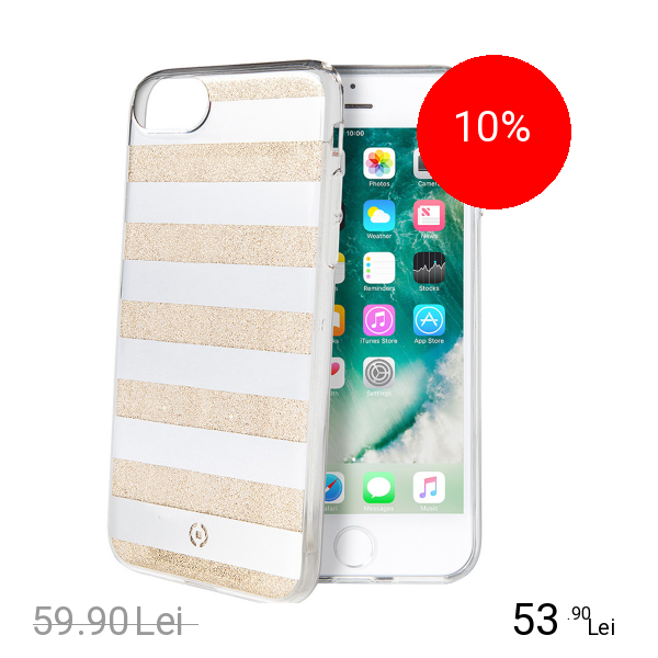 Celly Husa Capac spate Stripes Auriu Apple iPhone 7, iPhone 8