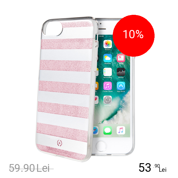 Celly Husa Capac Spate Stripes Roz Apple iPhone 7, iPhone 8