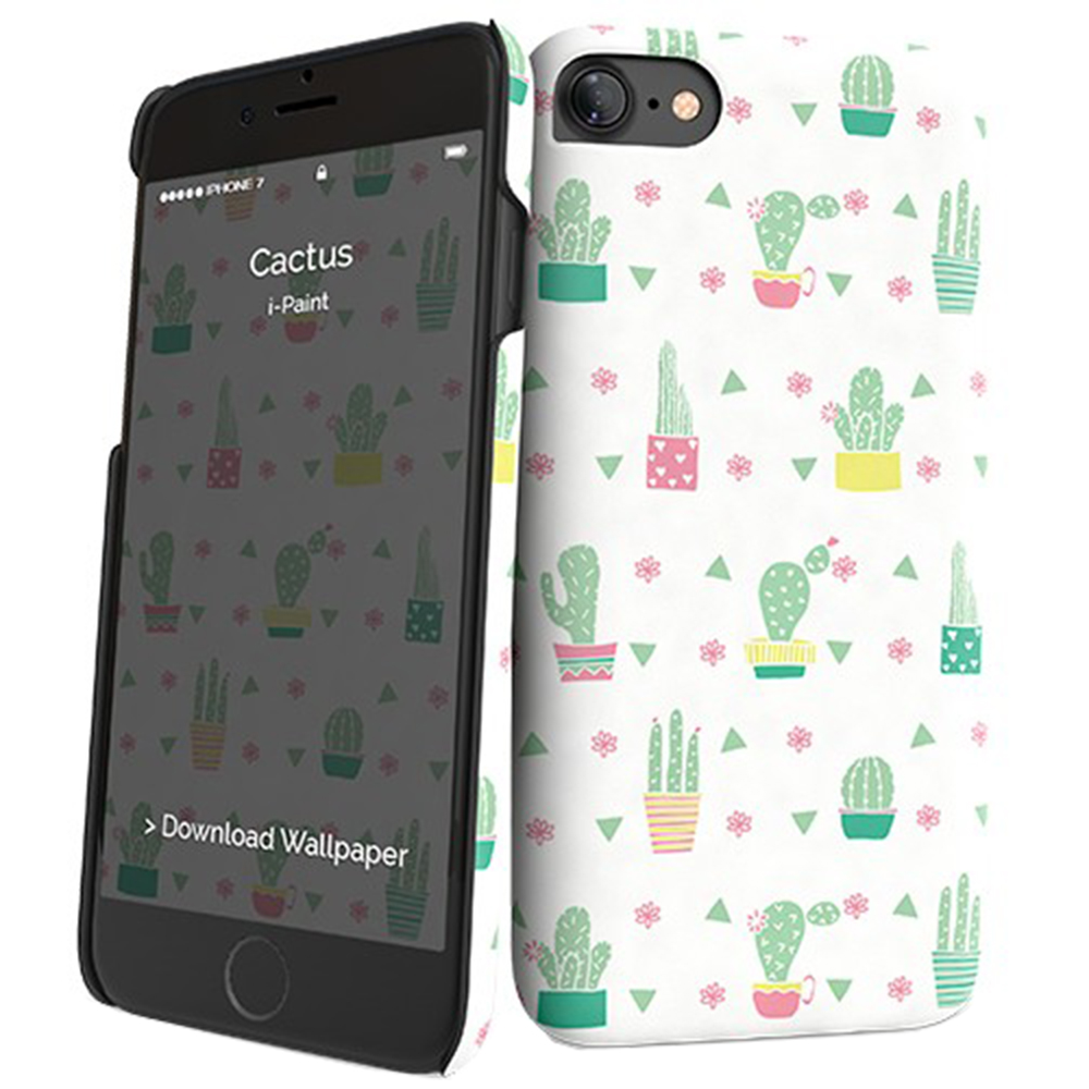 I-PAINT Husa Capac Spate Cactus 131019 Verde Apple iPhone 7, iPhone 8