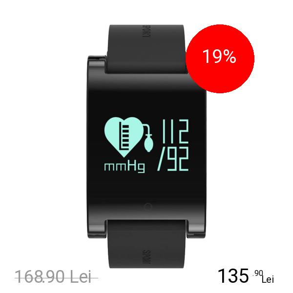 STAR Smartwatch Monitorizare Cardiaca IP67 Curea Detasabila Negru