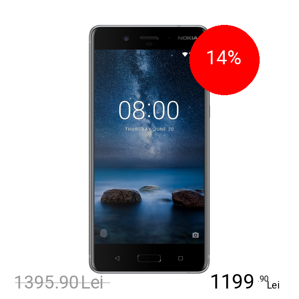 Nokia 8 Dual Sim 64GB LTE 4G Argintiu 4GB RAM