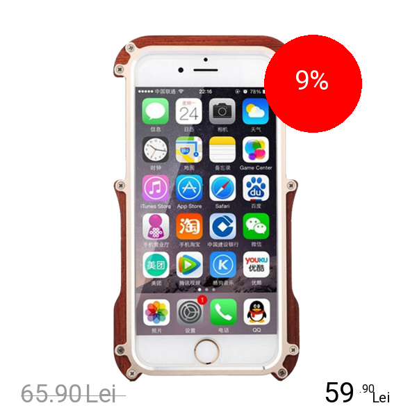R-JUST Husa Capac Spate Iron Wood Auriu APPLE iPhone 6, iPhone 6S