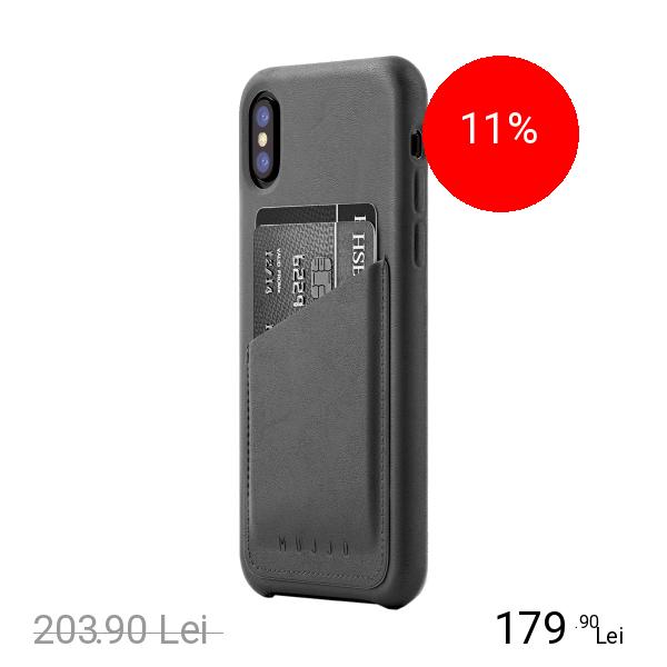 MUJJO Husa Capac Spate Piele Wallet Gri APPLE iPhone X