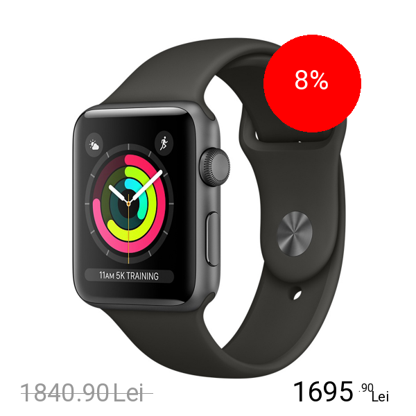 Apple Watch 3 GPS Aluminiu Negru 38MM Si Curea Sport Gri