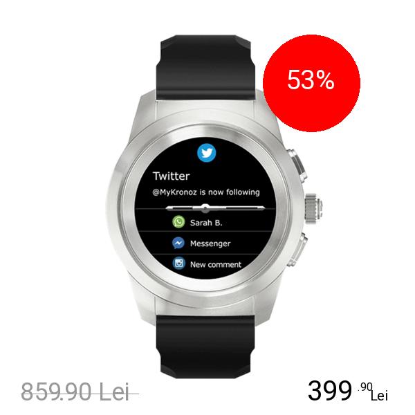 Mykronoz Smartwatch ZeTime Standard 44MM Argintiu Brushed Si Curea Silicon Negru