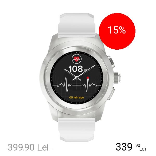 Mykronoz Smartwatch ZeTime Standard 44MM Argintiu Brushed Si Curea Silicon Alb