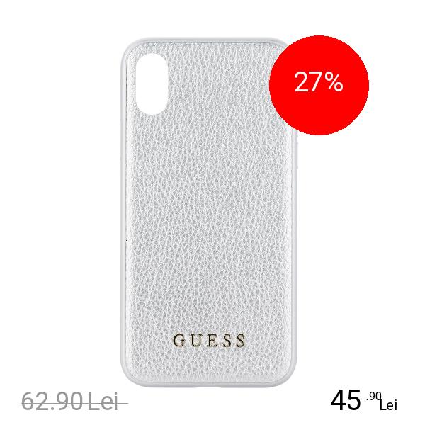 Guess Husa Capac Spate Iridescent Piele Argintiu APPLE iPhone X