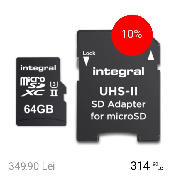 Integral 64GB MSDXC UHS-II U3 C10 V60 + Adaptor