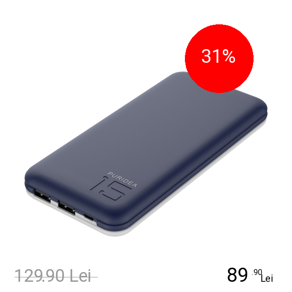 PURIDEA Baterie Externa S3s 15000mAh Cu Doua Porturi USB Alb Albastru